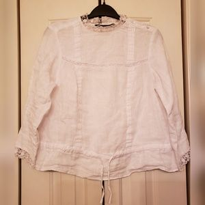 Zara Blouse With Floral Embroidered Lace Size S